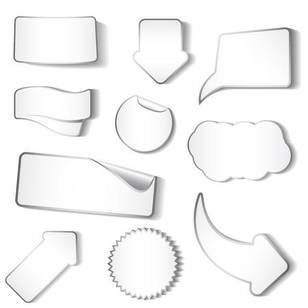 Set van witte stickers en tags Stock Illustratie
