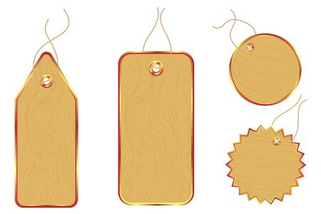 wooden price tags - stickers Vector