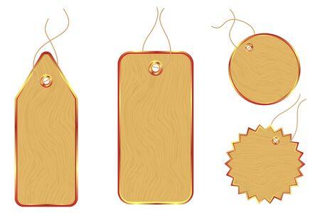 wooden price tags - stickers Vektorové ilustrace