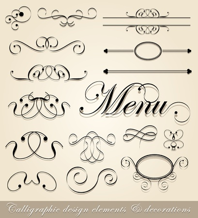 calligraphic design elements and page decorations Vector