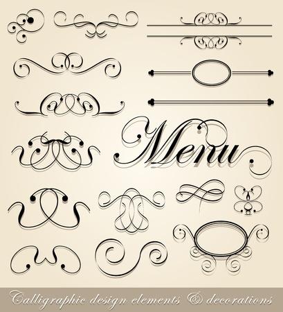 kalligrafische ontwerpelementen en pagina decoraties