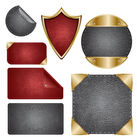 gold banner: Leather Badges, Cards & Labels