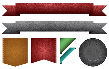 leather background: Leather Ribbons Badges Illustration