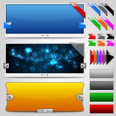website buttons: Web Sliders & Ribbons - Backgrounds Illustration