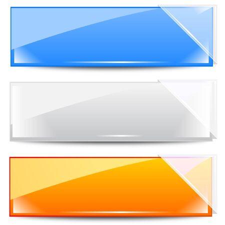 knop: Banners - Frames met wit glas Linten Stock Illustratie