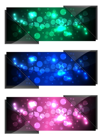 Shiny Sparkling Banners With Dark Glass Vector