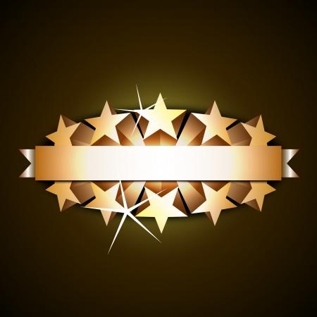 primer premio: Cinta brillante con estrellas 3d Vectores
