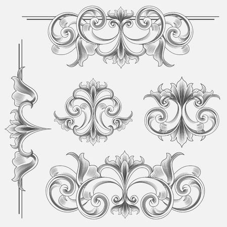 Set of Victorian Style Decorations Vector
