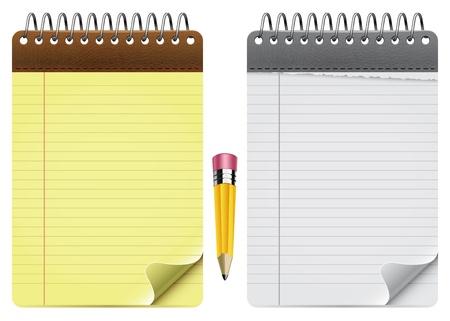 Twee Vector notitieblokken en Potlood