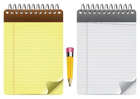 yellow notebook: Two Vector Notepads And Pencil