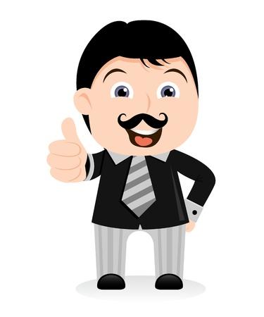 bigote: Empresario caricatura mostrando Succes signo