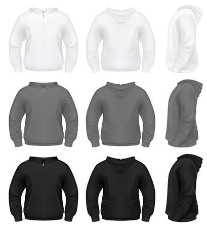 sweatshirt: Hoodie masculino realista con Zippe Vectores