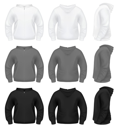 long sleeves: Realistic Mens Hoodie with Zippe