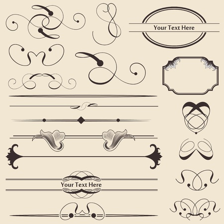 Calligraphic Page Decoration & Design Elements Vector