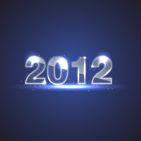 Blue New Year Background - 2012 Glass Numbers Stock Vector - 11433011