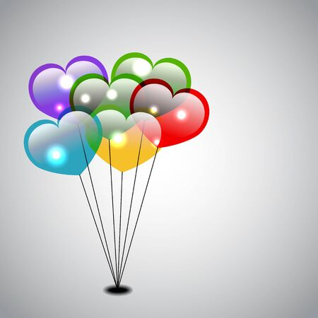 Colorful Heart Balloons Vector