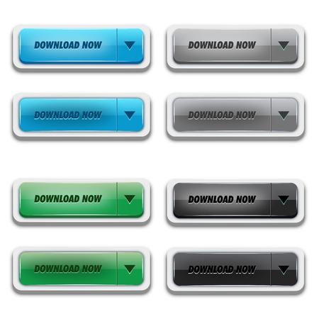 chrome button: Donwload Button Set Illustration