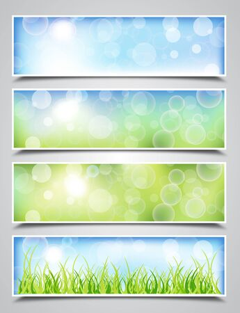 Collection of Spring Banners with Bokeh Effect Vector