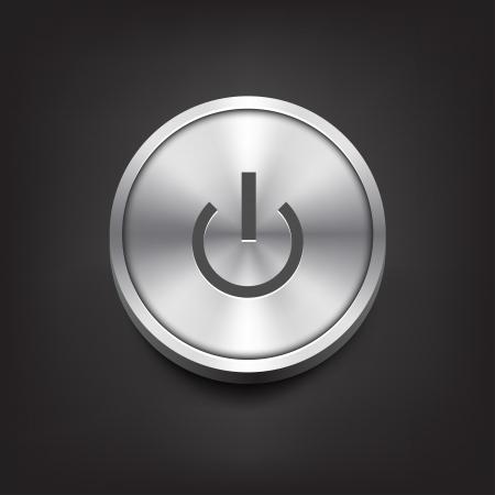 Metal Power Button Vector