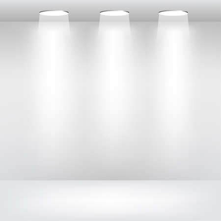 Empty Showcase Gallery with Lights Vector
