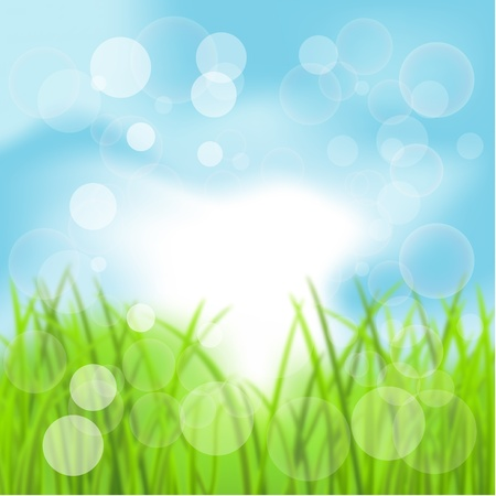 Spring Bokeh Background with Grass Vector