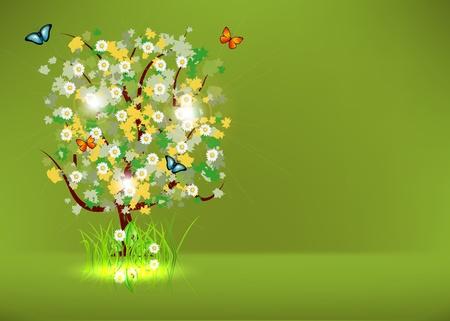 Blossoming Spring - Summer Tree Vector
