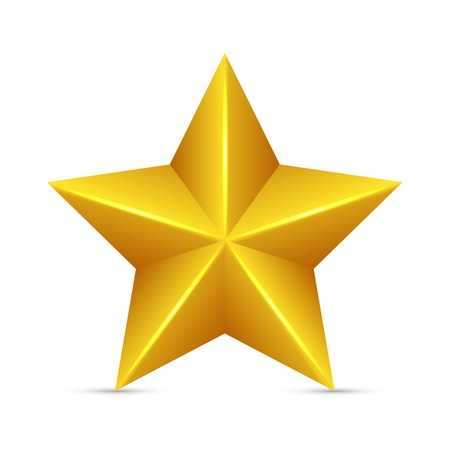 gouden ster: Glossy Gele Ster Stock Illustratie
