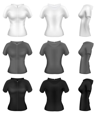 hooded top: Realistic Womans Sweater with Hoodie
