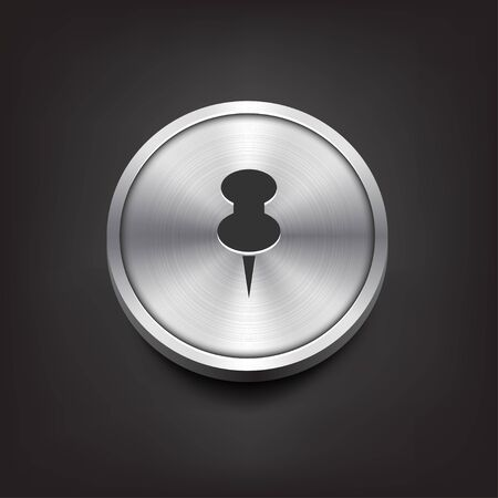 push pin icon: Metal Button with Push Pin Icon