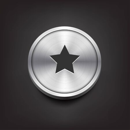 metal button: Metal Button with Star Icon Illustration