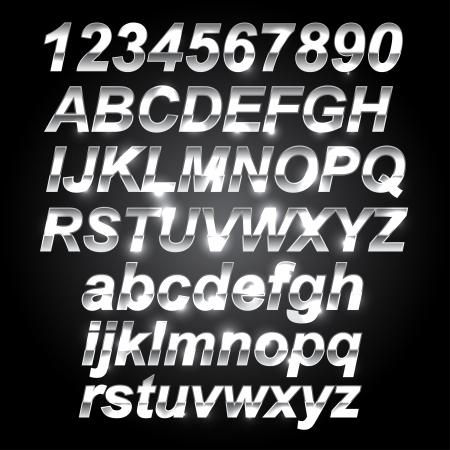 Silver letras de metal de fuentes y Números Ilustración de vector