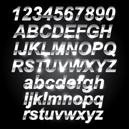 chrome letters: Silver Metal Font Letters and Numbers Illustration