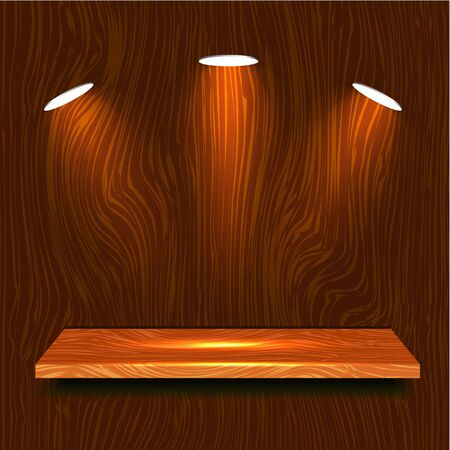 3d Wooden Shelf Vector