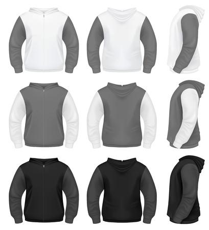 chaqueta: Hombres sudadera con capucha s realistas con cierre de cremallera Vectores