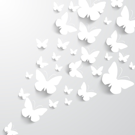 3d paper art: Background with Butterflies Illustration