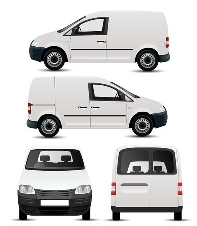白い商業車両モックアップ  イラスト・ベクター素材