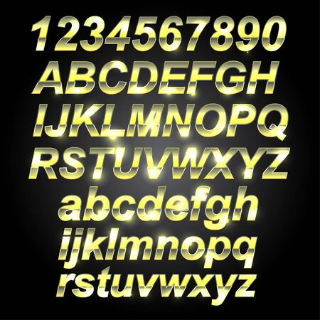 gold letters: Gold Metal Font Letters and Numbers