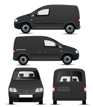 Black Commercial Vehicle Mockup Ilustracja