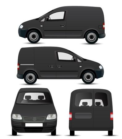 Black Commercial Vehicle Mockup Vettoriali