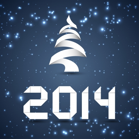 Paper Christmas Tree and New Year 2014 Digits Vector