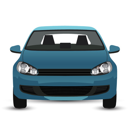 青い車 - フロント ビュー  イラスト・ベクター素材