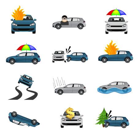 seguros autos: Iconos del seguro de coche Vectores