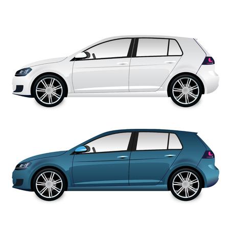 白と赤の車 - 側面図