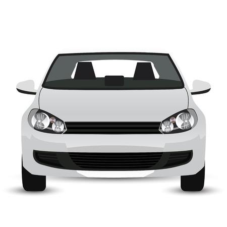 白い車 - フロント ビュー