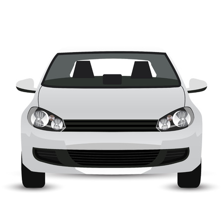 car transportation: Coche blanco - vista frontal