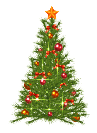 decorated christmas tree: Decorated Christmas Fir Tree Illustration