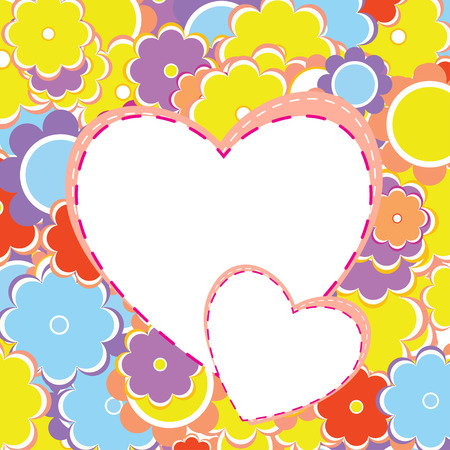 mothers day background: Colorful Valentine s Background with Hearts and Flowers