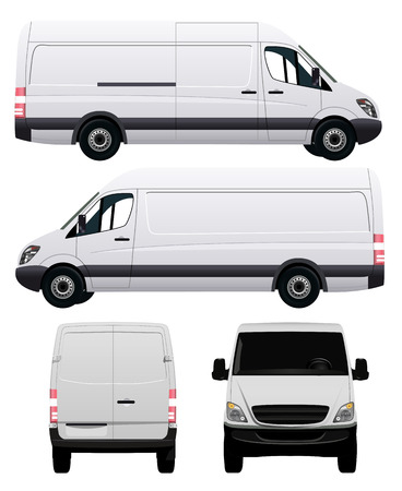 Wit Commercial Vehicle - Van nr. 2 Stock Illustratie