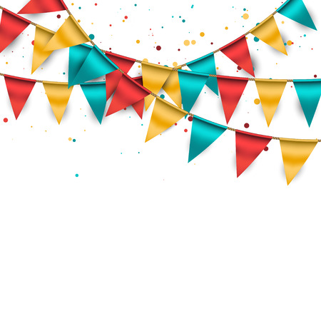Festive Background with Buntings and Confetti