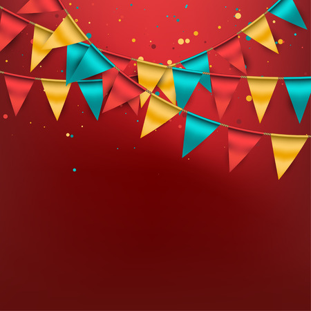 outdoor party: Festive Background with Buntings and Confetti